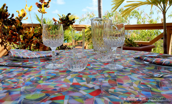 Debbie Sun Design Studio Overlapping tablecloth design