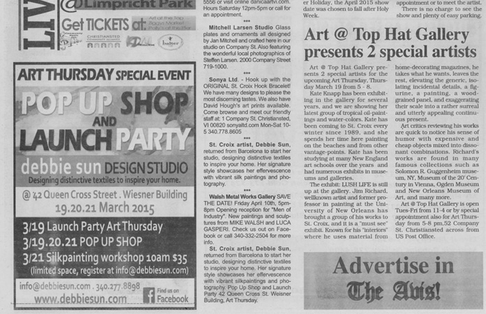 St. Croix Avis Newspaper Debbie Sun Advertisement